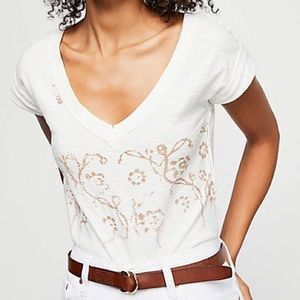 Free People White Cropped Embroidered V Neck Top